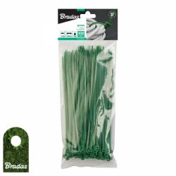 100szt. Opaska kablowa 2,5x150mm Green taśma kablowa trytytki Bradas 2357