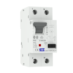 C10A 30mA 2P 10kA typ A Wyłącznik różnicowoprąd z członem nadprąd RCBO SEZ 0165