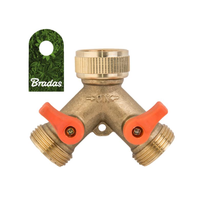 Wasserhahn Verteiler 3//4/' 4634 2-Wege Wasserverteiler Messing Gartenschlauch