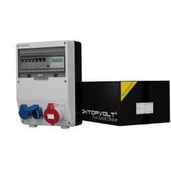 Rozdzielnica TD-S/FI 32A 2x230V z licznikiem zużycia energii IP44 Schuko Doktorvolt® 9092