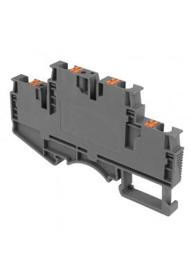 Złączka szynowa zaciskowa szara 4mm2 2-piętrowa 4-przewodowa 5767