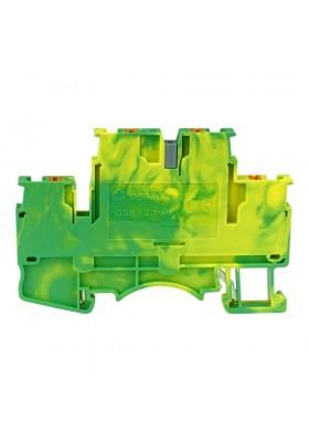 Złączka szynowa zaciskowa 2,5mm2 2-piętrowa 4-przewodowa żółto-zielona PE 5774
