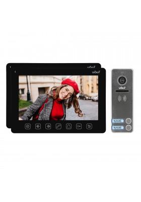 """Zestaw wideodomofonowy 2-rodzinny. bezsłuchawkowy. kolor. LCD 7"""". menu OSD. sterowanie bramą. czarny NOVEO MULTI2"""