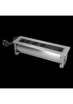Gniazdo meblowe wpuszczane w blat z płaskim frezowanym rantem oraz elektrycznym otwieraniem. 3x2P+Z (Schuko). 2xNET.1xHDMI