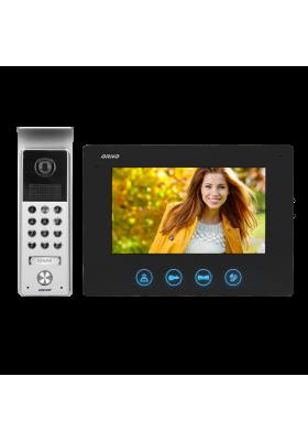 """Zestaw wideodomofonowy bezsłuchawkowy kolor LCD 7"""" z szyfratorem natynkowy czarny CERES"""