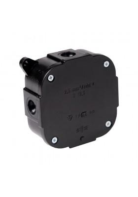 Puszka natynkowa n/t  bez zacisków pusta - czarna ViPlast 80x80x30 IP44 380V 3955