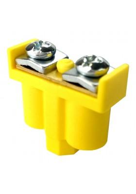 Zacisk podwójny 2x1-4mm2 żółto-zielony do puszek przewodów