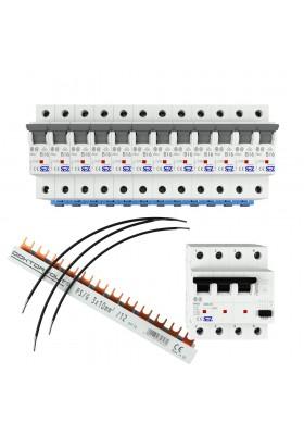Zestaw: wyłączniki SEZ + Linka H07V-K 4mm2 + Szyna łączeniowa