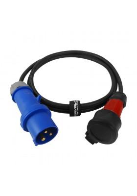 Kabel przejściowy 2m IP44 16A/230V z wtyczki kempingowej 16A/3P na gniazdo schuko 230V