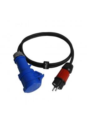 Kabel przejściowy 2m IP44 230V/16A z wtyczki 230V na gniazdo kempingowe