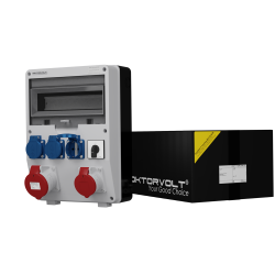 Rozdzielnica TD 32A 16A 3x230V z łącznikiem krzywk 0-1 Schuko Doktorvolt® 2411