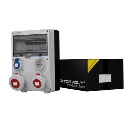 Rozdzielnica TD-S IP65 32A 16A 2x230V gniazda Schuko system niem Typ F Doktorvolt® 6046