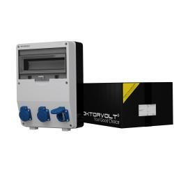Rozdzielnica TD 3x230V gniazda Schuko system niem Typ F Doktorvolt® 9009