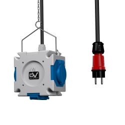 Rozdzielnica wisząca mDV 3x230V Schuko 1,5m kabel 1,5m łańcuszek Doktorvolt® 2671