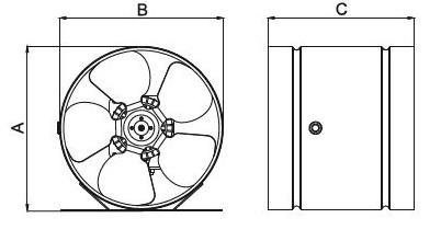 Wentylator przemysłowy rysunek wymierow